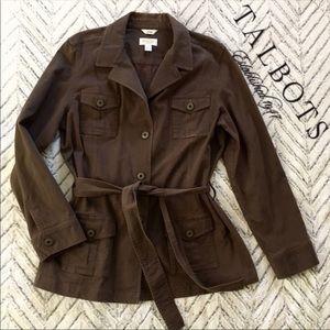 Talbots Brown Utility jacket with sash